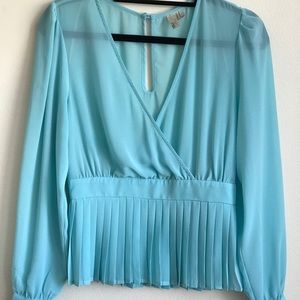 Forever 21 Exclusive Sheer Teal Blouse